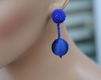 Dangle Earrings, Stacked cotton ball Earrings, Blue royal Ball Earrings, Cord ball Earrings, Drop Earrings, Gift for her, Everyday use