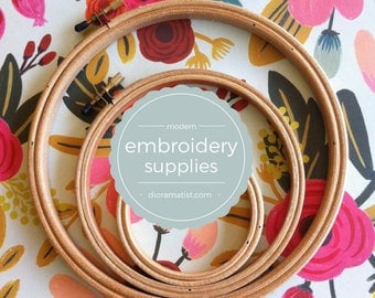 wood embroidery hoops set of 3 - embroidery supplies -wood hoops various sizes
