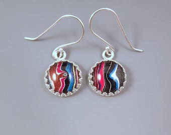 Fordite Earrings- Gorgeous Shimmering Colors- Michigan Made- Sterling Silver Drop Earrings