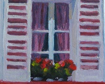 Window in Paris Painting Original Oil Painting Urban Landscape Modern Impressionist Jennifer Boswell