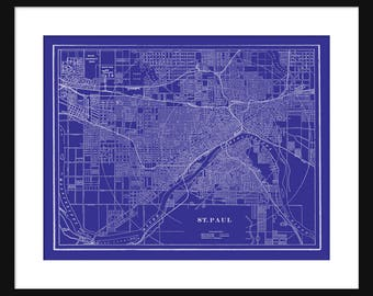 St Paul - Minnesota - Map - Blue - Vintage Print Poster