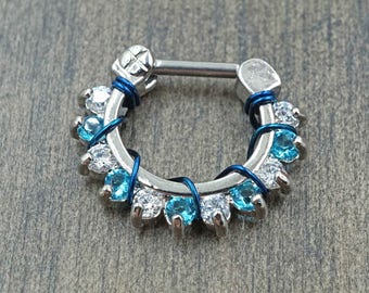 16 Gauge Sparkly Blue and Clear CZ Septum Ring Clicker Daith Ring Rook Earring