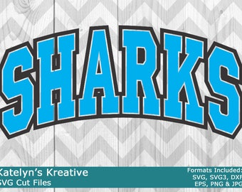 Sharks Arched SVG Files