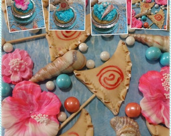 MOANA inspired cupcake  or cake decorations Nautical Toppers for your Home Made Cupcakes, Cake or Cookie Decorations made of Vanilla fondant