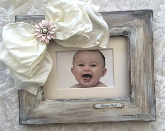 Photo Frame with Bow Personalized Gift Idea Baby Child Girl Family BFF Gift Bow Jewel Rustic Bling First Birthday