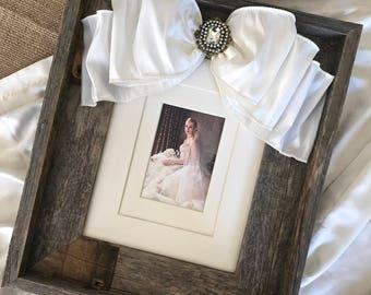 8x10 Wedding Frame Bow Jewel Reclaimed Wood Personalize Diamond Bridal Baby Portrait Name Date Rustic Barn Wedding Decor Farm House Decor