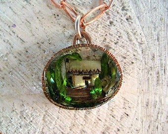 Tiny Resin Terrarium Necklace with stamped copper bezel