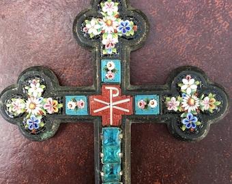 Killer Huge Micro Mosaic floral cross
