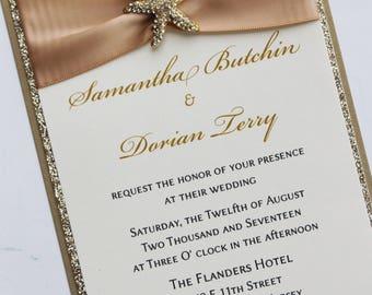 Champagne Gold Wedding Invitation with gold  Sparkling Starfish; Rhinestone Buckle; Rhinestone Starfish Brooch