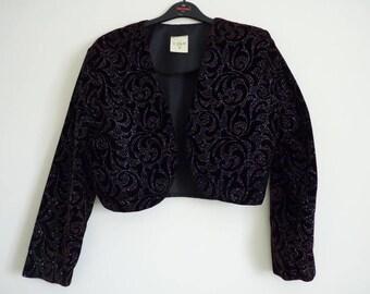 Vintage Etam size 16 bolero black velveteen covered in a glittering pattern