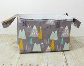Fabric Storage Basket - Diaper Caddy - Mountains on Gray - Toy Storage