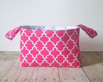 Pink Lattice Fabric Storage Basket - Diaper Caddy - New Baby Gift -  Nursery Decor - Fabric Easter Basket