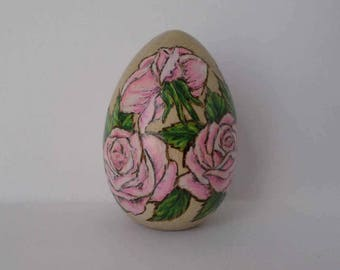 pink rose decorated Easter egg, rose paperweight, wood paperweight, , wood burning