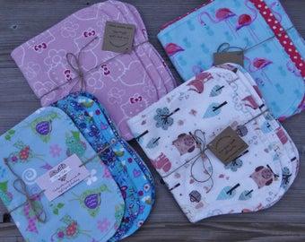 Burp Cloths ~ Burp Pads ~ Burpies ~ Burp Pad Sets ~ Three Layer Contoured Baby Burp Cloths  (Set of Three) ~ Baby Gift