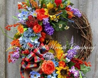 ON SALE Summer Wreath, Summer Floral Wreath, Country French Wreath, Designer Floral Wreath, Sunflower Wreath, Garden Wreath, Country Cottage