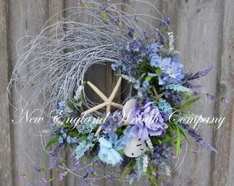 ON SALE Beach Wreath, Elegant Shell Wreath, Summer Wreath, Seashell Wreath, Beach Cottage Wreath, Coastal Wreath, Nautical Decor, Floral Wre