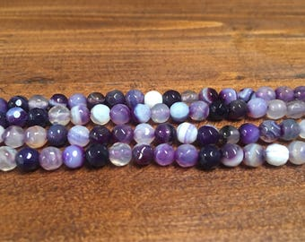 4mm purple stripes agate 15in round beads sale