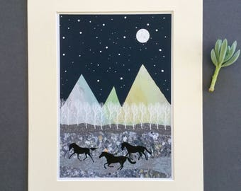 Mountain print, wild horses, horse illustration, mixed media, giclee print, inspirational art