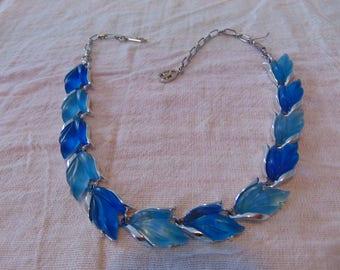 vintage blues fruit salad necklace silver plate lucite