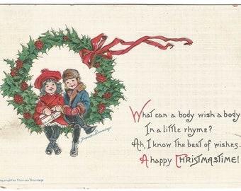 Children Dressed in Winter Clothing Sitting on Wreath by Artist Francis Brundage Vintage Postcard Christmas Artist Signed