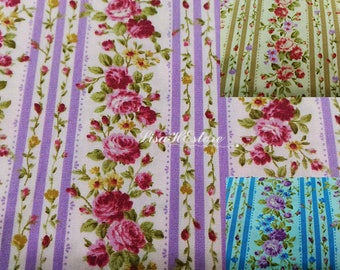 Rose and stripe, 1/2 yard, pure cotton fabric