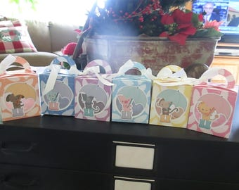 Pastel Umbrella Animals Favor Boxes Set of 12 with Free Shipping
