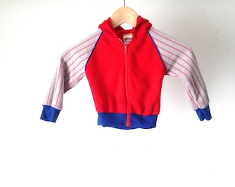 SOFT kids size 4T HOODIE childrens vintage sweatshirt TRACK jacket navy blue hooded top