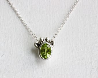 Green Giraffe Necklace, Peridot and Sterling Silver