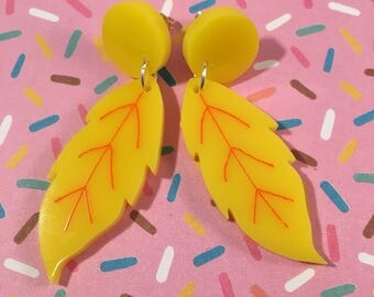Retro leaf earrings, custom colours