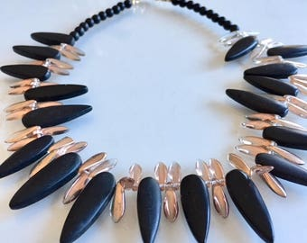 Gift Spikey Necklace of Black Onyx and Copper Glass