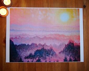 """Sunrise art print canvas textured print 8x10""""/A4 - 11.5x15""""/A3"""