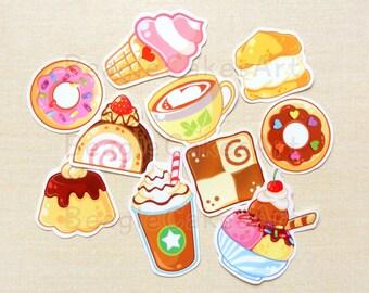 Sweets Stickers, Ice Cream Stickers, Donut Stickers, Waterproof Sticker, Food Sticker, Planner Sticker, Laptop Sticker, Pastry Stickers Set