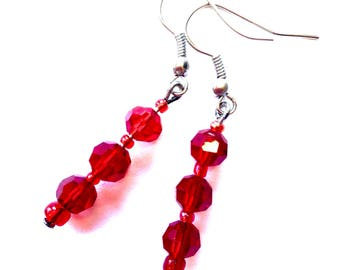 PIF Pay It Forward Red Crystal Drop Earrings, gift