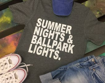 Summer Nights Ballpark Lights t-shirt tee soft shirt Baseball Softball