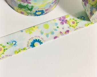 Bright Purple Blue Green Yellow Floral Pretty Ombre Flowers Washi Tape 11 yards 10 meters 15mm