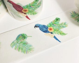 Bright Colorful Tropical Parrot Feathers Flowers Bird Tropical Parrot Washi Tape 11 yards 10 meters 30mm
