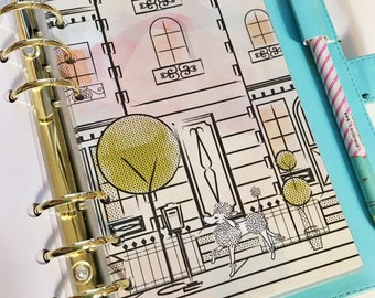 Personal Size Downton Paris Building Watercolor Peach Pink Blue Coral Green Polka Dot Poodle Laminated Dashboard Filofax Kikki k Planner