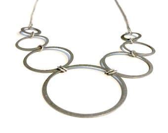 Antique Silver 7 Circles Necklace