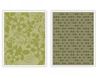 Sizzix Textured Impressions Embossing Folders 2PK - DOTS & FLOWERS Set #2