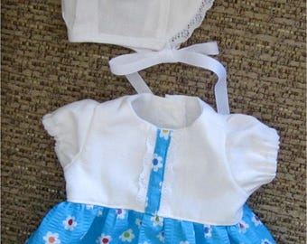 "Bright Blue & White Floral Dress with Bonnet  Fits Bitty Baby, Bitty Twin or Other 15"" Baby Dolls"