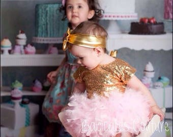 The Original Feather Tutu, Full Feather Bloomer, Baby Girl Gold Sequin Bodysuit, Gold Headband, Pink & Gold 1st Birthday Girl Outfit, Xmas