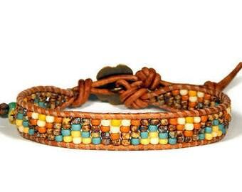 Bead Loom Bracelet Leather Wrap Bracelet Mountains Seed Bead Yellow Rust  Skinny Bracelet Bead Boho Bracelet Bohemian