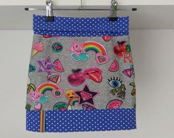 Tricot kinderrokje regenboog emoji, tricot rokje, jersey girls skirt, knit skirt emoji, rainbow