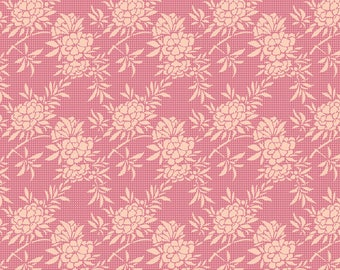 In the United States Tilda Harvest Flower Bush in Pink 1/2 Yard