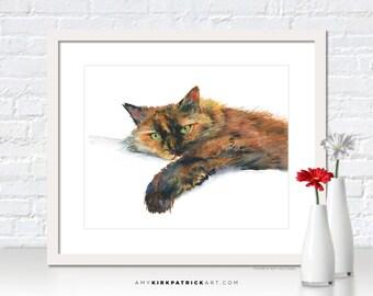 Calico Cat Painting, Calico Cat  Print, Cat Greeting Cards, Calico Cat  Watercolor, Cat Wall Decor, Cat Wall Art, Brina
