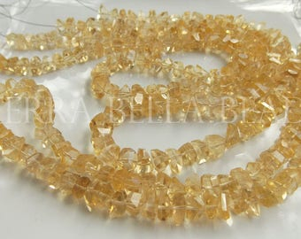 """7"""" strand natural CITRINE faceted gem stone nugget beads 7mm yellow"""