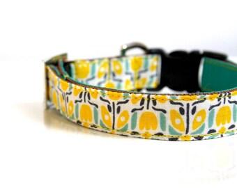 Summer Floral Tassel Charm Dog Collar - Silver, Green