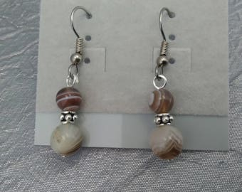 Botswana Agate and Sterling Silver Beads Earrings