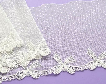 Ivory Polka Dot Lace, Ivory Bows Lace Trim, Dolls Dresses, Wedding Lace, Bridal Trim Wedding Veil, Wedding Dress, Lace Crafts