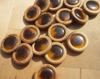 "Vintage Wood Buttons Brown Tortoise Set 18- 7/8"""